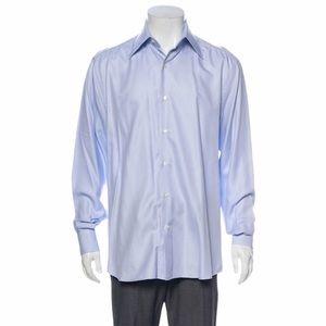 Valentino Blue Cotton Button Up Dress Solid Shirt
